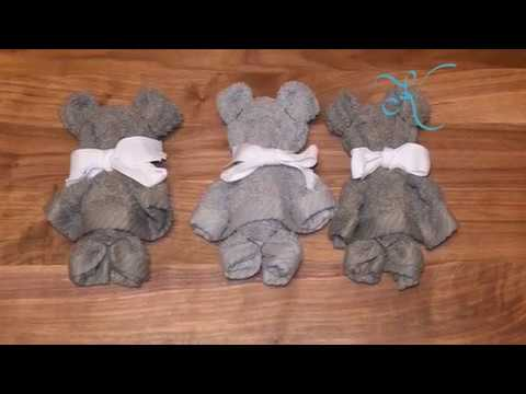 DIY Teddy Bear Washcloth Towel | How To Baby Shower Ideas