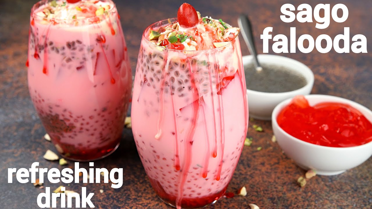 sabudana falooda dessert drink | sago royal falooda | साबूदाना फालूदा रेसिपी | sabudana dessert