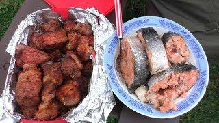 Рыба на мангале, простой способ 🐟 и шашлык!