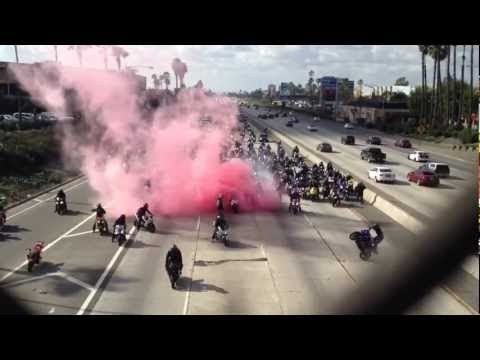 Bikers Shut Down Freeway with Pink Explosion (VIDEO)