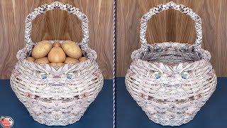 Multi Use... Vegetables & Fruit Basket    DIY Kitchen Organizer !!! Newspaper Craft
