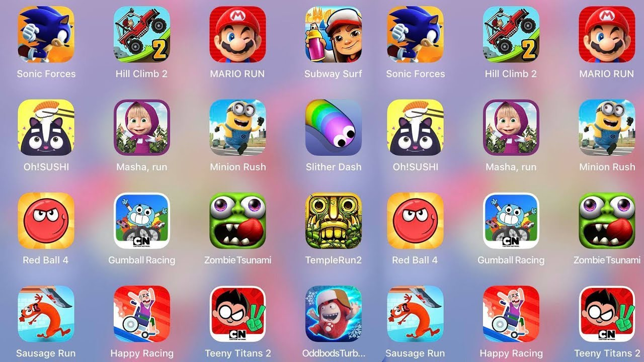 Gumball,Mario,Sausage,RedBall4,HillClimb,Subway,Oh!SUSHI,Masharun,Minion,Slither,Temple,Teeny  Titans