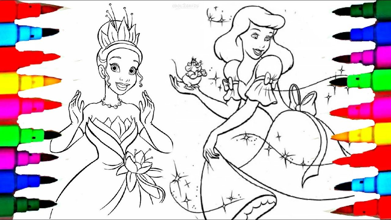 learn colors by coloring disney princess tiana cinderella