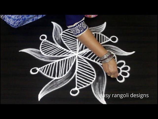 creative & beautiful kolam with 5 dots * easy rangoli designs * new pattern muggulu
