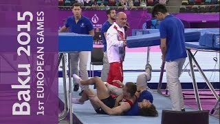 Spotter steps in to break Polish athlete's fall | Trampoline | Baku 2015 European Games