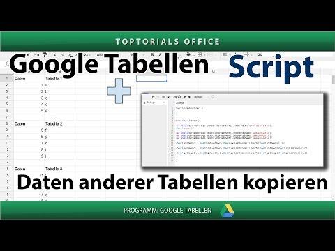 Daten anderer Tabellen in Tabellenblatt kopieren (Google Tabellen /  Spreadsheets) Script