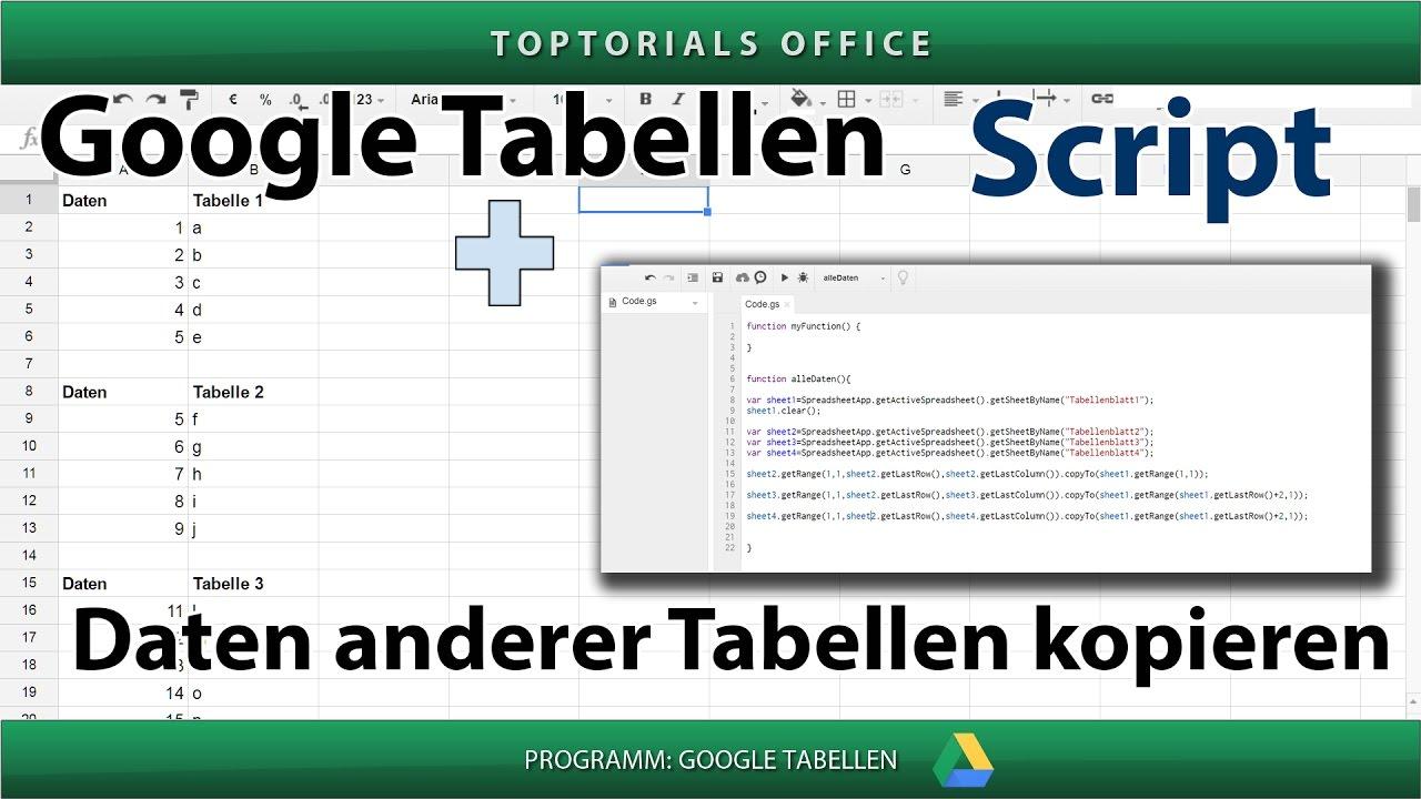 Daten anderer Tabellen in Tabellenblatt kopieren (Google Tabellen ...