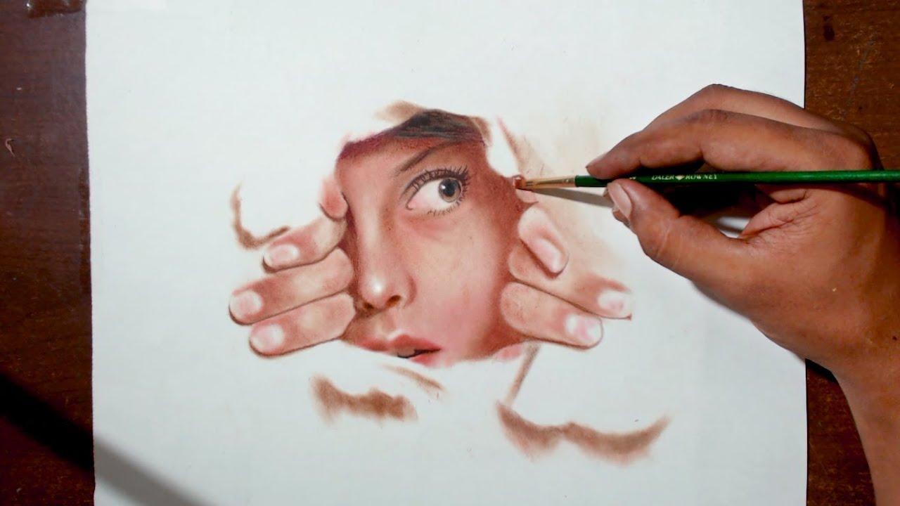 Hiding oil painting dry brush technique prismacolor pencils