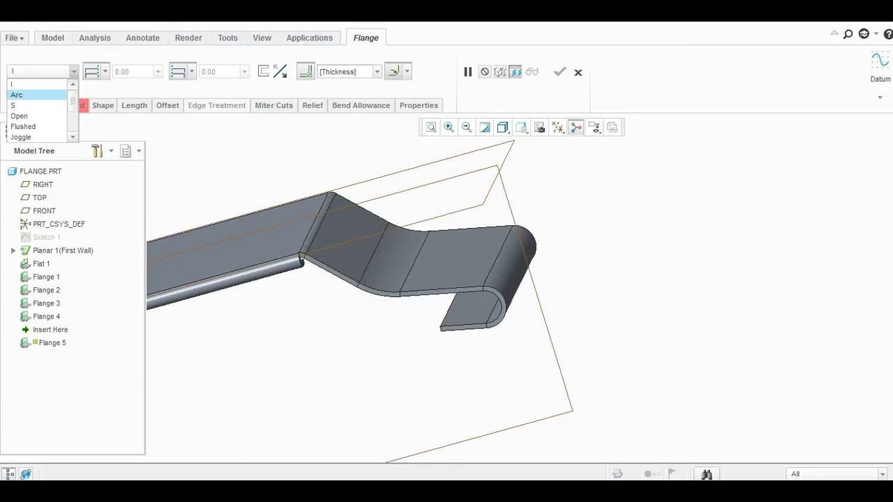 Flange All Types Command In Creo Sheetmetal Youtube