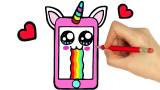 HOW TO DRAW A CUTE CELL PHONE SMARTPHONE