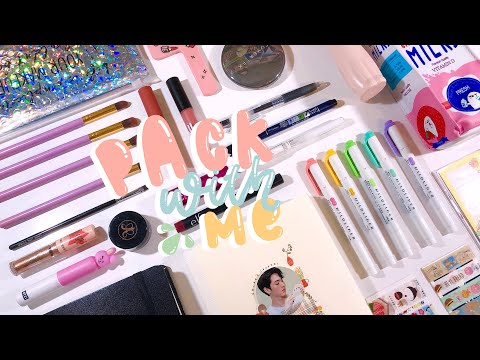 pack with me - stationery & makeup: real sounds + soft music! *:・゚✧ | kkinotes