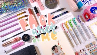 pack with me - stationery & makeup: real sounds + soft music!