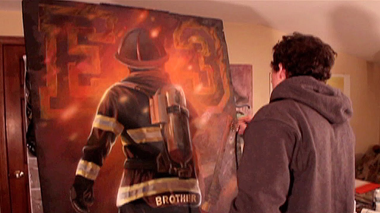 firefighter illustration painting process by kiptoe youtube. Black Bedroom Furniture Sets. Home Design Ideas