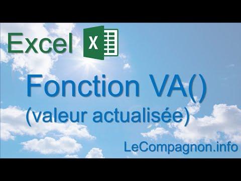 Excel Fonction Va Valeur Actualisee Youtube