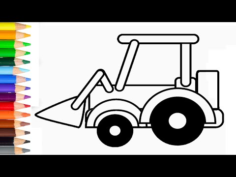 How to Draw Excavator Step by Step Learn Drawing Excavator for Kids Very Easy and Simple