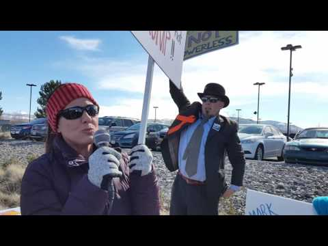 Citizens Ask Dean Heller Questions from Outside Private Carson City Event