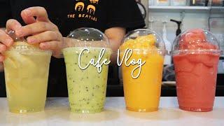 [eng] 슉. 슈슉 시. 시럽추가 슈슉. | 💚💛❤️알록달록대작전 | 카페 브이로그