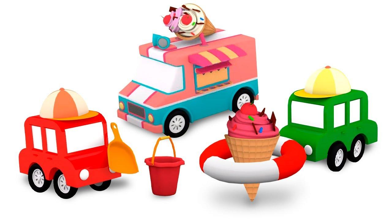 Procurando peças na neve com os 4 carros coloridos! Desenhos animados para crianças
