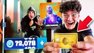 SPYING on LITTLE BROTHER for 24 HOURS! *caught him spending v bucks on my credit card*