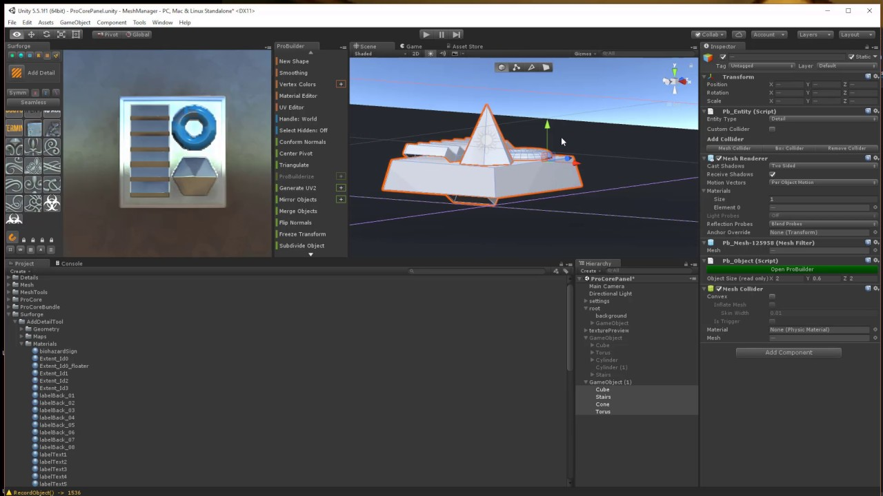 Using Probuilder with Mesh Tools For Surforge