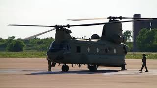 CH 47C Chinook arrival at airport and shutdown