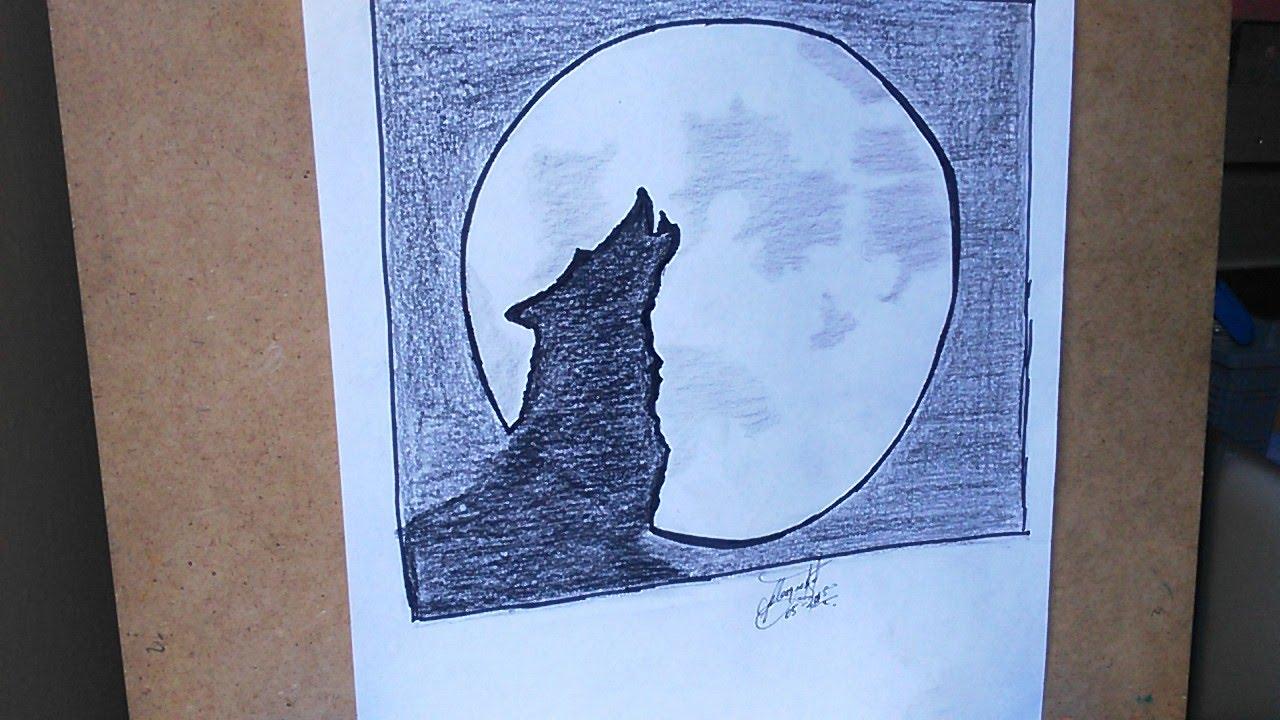 Como Dibujar Un Lobo Y Luna How To Draw A Wolf And Moon Dessiner