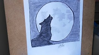 Como dibujar un lobo y luna, How to draw a wolf and moon, dessiner un loup et la lune