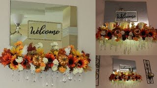 Dollar Tree DIY Fall Wall Home Decor 2018| DIY Lighted Mirror Home Decor| Elegant Fall Home Decor