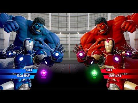 Blue Hulk And Blue Iron Man Vs Red Hulk And Iron Man - MARVEL VS. CAPCOM: INFINITE