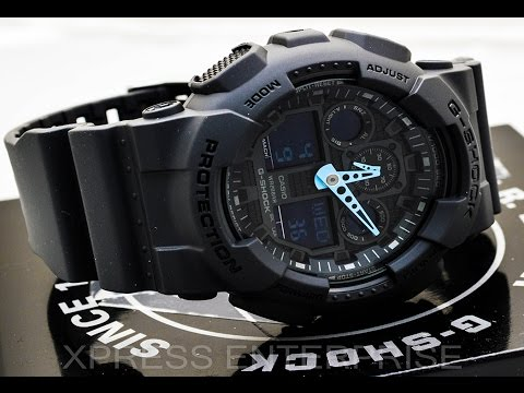 Casio GSHOCK BLUE GA100C-8A REVIEW | How To Set Time | LIGHT DISPLAY