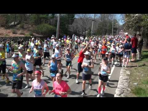 2012 Boston Marathon Wave 3  video taken in Hopkinton near the start