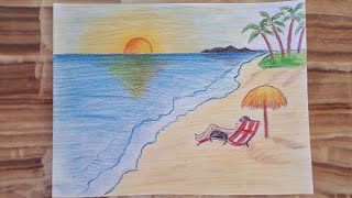 Kolay deniz manzarası çizimi 🏖 / Sahil resmi / Scenery of sea / Beach drawing / Easy sea drawing
