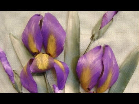 Видео вышивка лентами ирисов