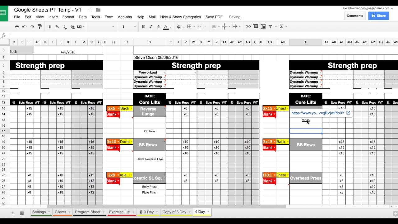 setting up your google sheets personal training template youtube