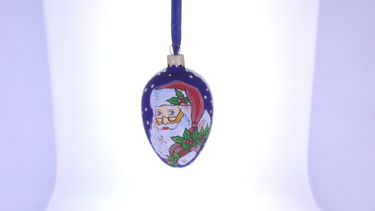 Santa With Mistletoe Glass Christmas Ornament