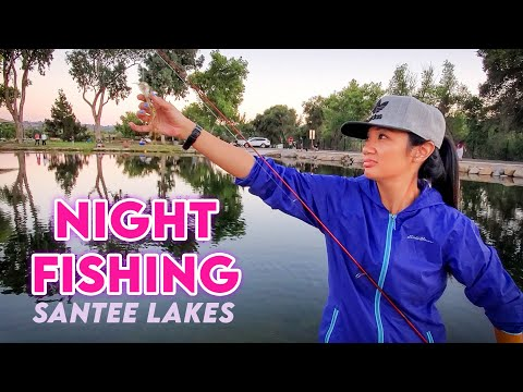 Night Fishing For Catfish At Santee Lakes, California
