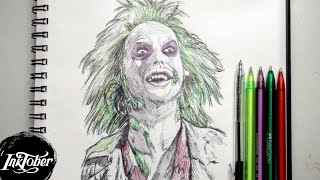 BEETLEJUICE PEN DRAWING - INKTOBER DAY 31