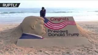 Индийский художник слепил из песка поздравление Дональду Трампу