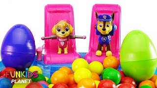 Best Learning Colors for Children: Paw Patrol Skye & Chase Gumballs Swimming Pool and Surprise Eggs