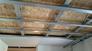 потолок 16. из гипсокартона, на двухуровневом каркасе. Gypsum install.(как сделать потолок из гипсокартона на двухуровневом каркасе. Верхний ряд профилей закреплен за деревянны..., 2015-05-21T10:19:29.000Z)