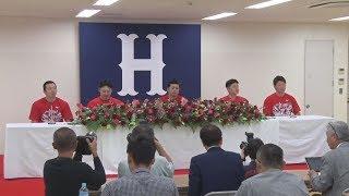 広島が初の3連覇、9度目V 緒方監督らが記者会見