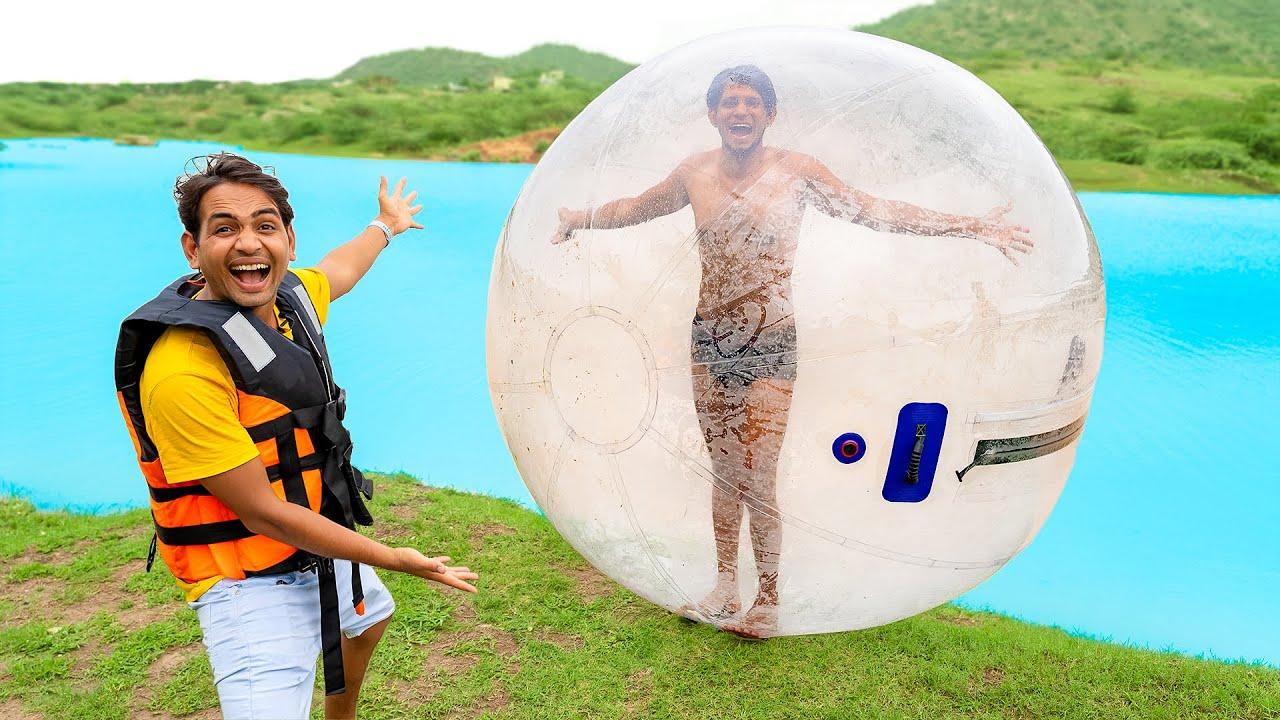 Running On Water Using Big Plastic Ball - Challenge