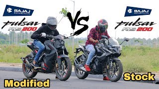 Download lagu Modified Pulsar RS200 vs Stock Pulsar RS200 Drag race Does Modifications make the bike faster MP3
