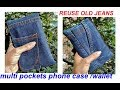 SUPER EASY 5 minutes -  multi pockets wallet / phone case with zipper from old Jeans -ladies purse