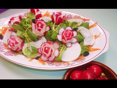 Flores de rabanito decoraci n ensaladas facil radish for Decoracion de ensaladas