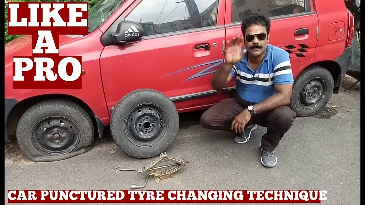 how to change car tyre in india at home like a pro-puncture car tire change  video on youtube