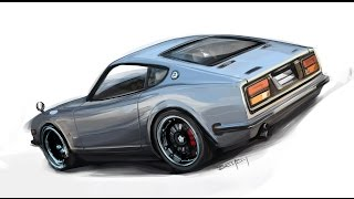 Datsun 240z digital painting in Photoshop