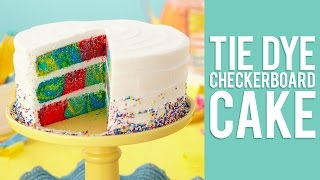How to make a Checkerboard Cake with a Rainbow Tie-Dye Effect