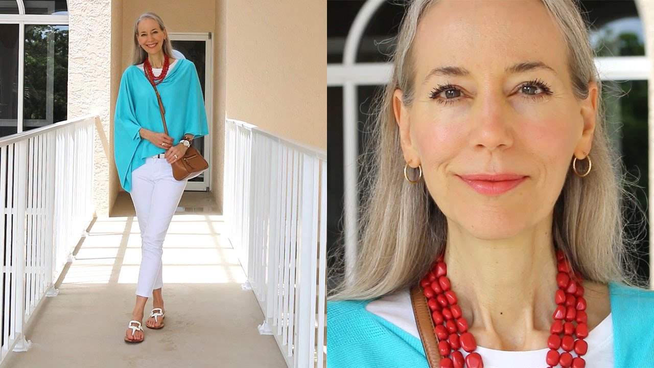Classic Fashion Style Over 40 Over 50 Turquoise Poncho White Skinny Jeans Tory Burch Bag
