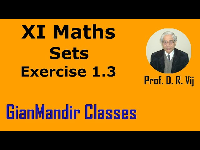 XI Maths | Sets | Exercise 1.3 by Divya Ma'am